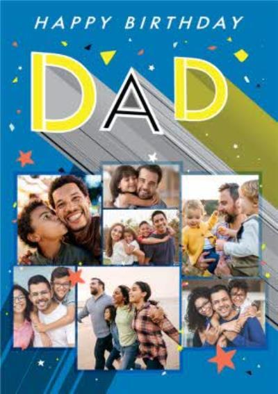 Axel Bright Graphic Happy Birthday Dad Multi Photo Upload Card