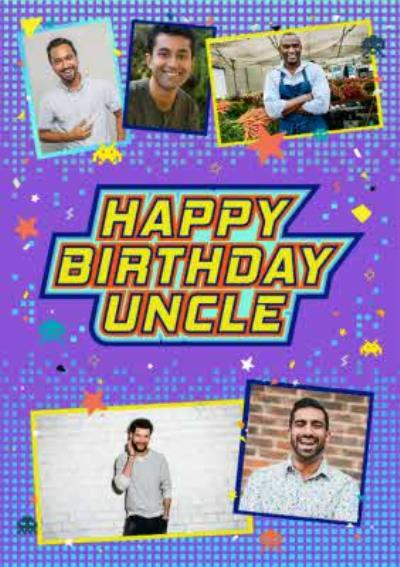 Axel Bright Graphic Happy Birthday Uncle Multi Photo Upload Card