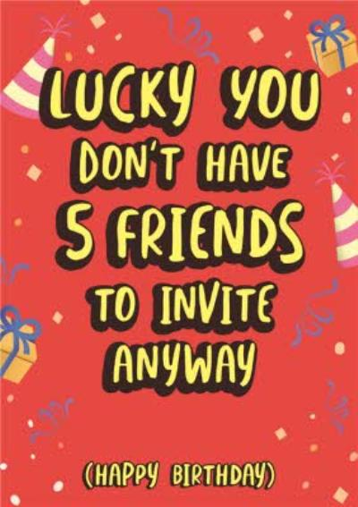 Typographic Covid 6 Friends Rule Happy Birthday Card