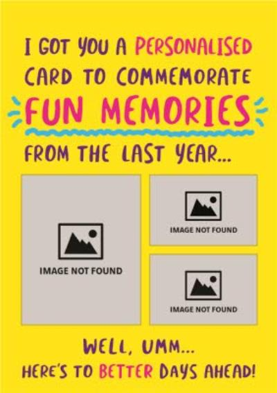 Fun Memories From Last Year Funny Typographic Covid Card