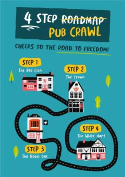 Funny 4 Step Pub Crawl Card
