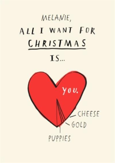 Bouncy Banana All I Want For Christmas Personalised Card