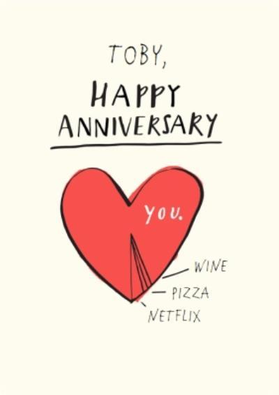 Anniversary Card - Love Heart - Wine - Pizza - Netflix