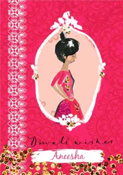 Personalised Bright Pink Happy Diwali Wishes Card