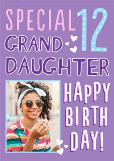 Big Bold Type Special Granddaughter Photo Upload 12 Birthday Card
