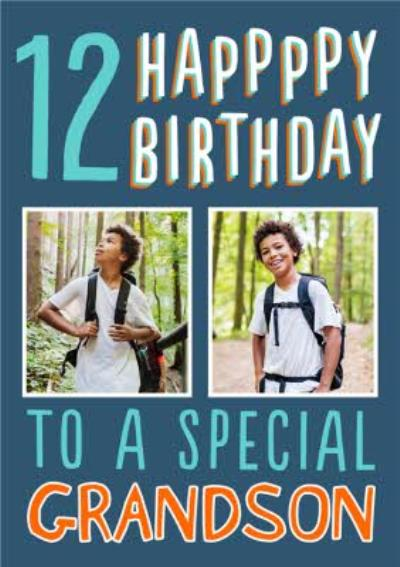 Big Bold Type Special Grandson Photo Upload 12 Birthday Card