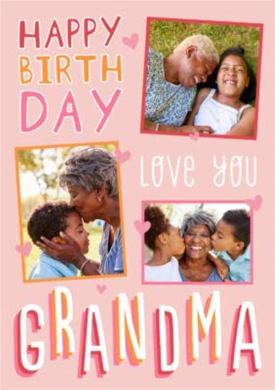 Big Bold Type Typographic Grandma Birthday Photo Upload Card