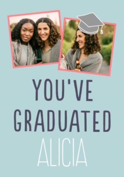 Big Bold Type Typographic You Graduated Photo Upload Card