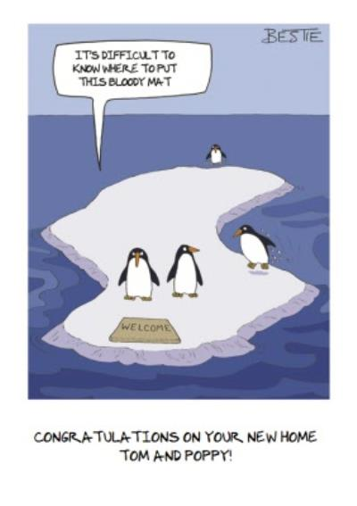 Penguins Difficulties Funny Personalised New Home Card