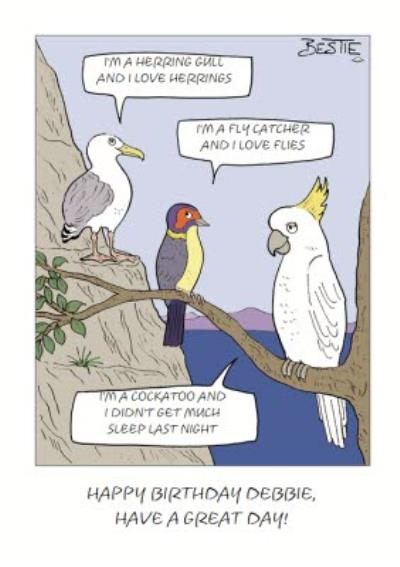 Bird Chatter Cartoon Card