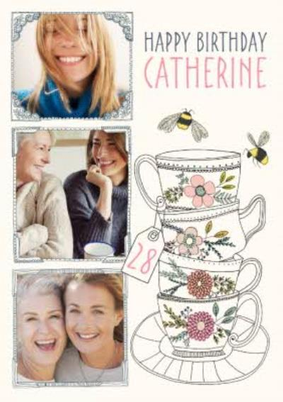 Stacked Tea Cups Multi-Photo Happy Birthday Card