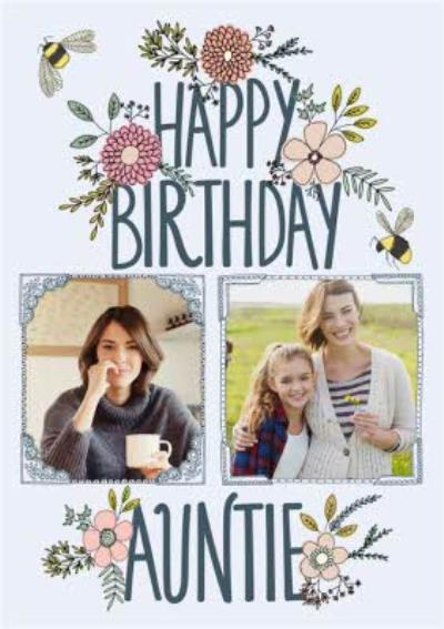 Flowers And Bumblebee Happy Birthday Auntie Card
