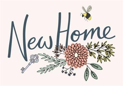 Floral Illustration With Bees New Home Card