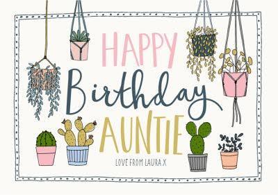 Auntie Birthday Card - Plants - Succulents - gardener - gardening