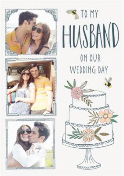Floral Photo Upload Wedding card - Husband - Traditional Flowers And Bumblebee
