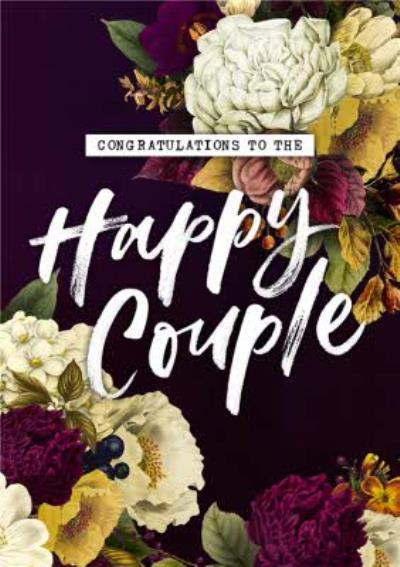 Belles Fleurs Floral Congratulations Wedding Card