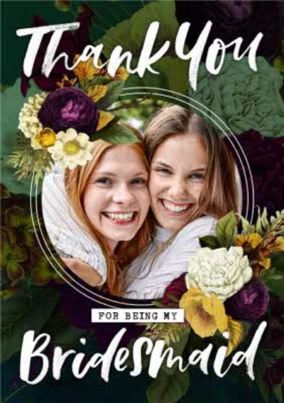Belles Fleurs Floral Photo Upload Bridesmaid Wedding Card