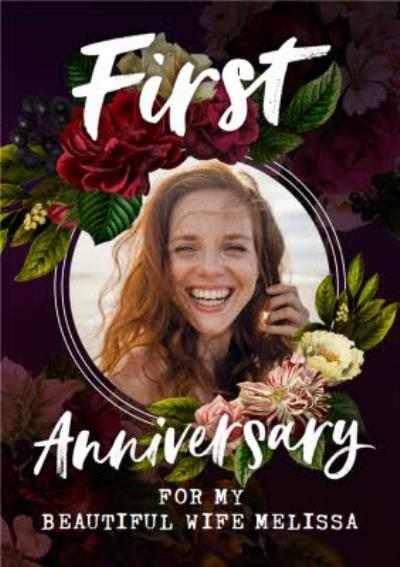 Belles Fleurs Floral Photo Upload Wife First Anniversary Card