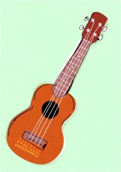 Mint Green And Classic Guitar Illustration Card
