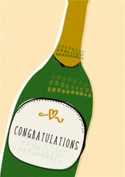 Classic Champagne Bottle Personalised Congratulations Card