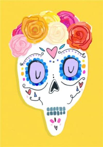 Illustrated Rose Crown And Mexican Skull Card