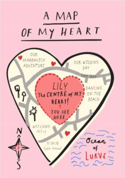 A Map Of My Heart Personalised Card