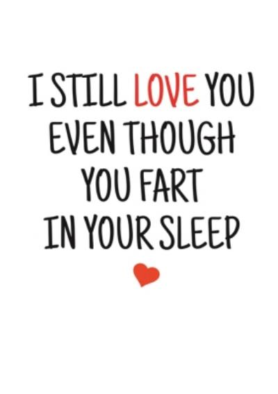 Typographical I Still Love You Even Though You Fart In Your Sleep Valentines Day Card
