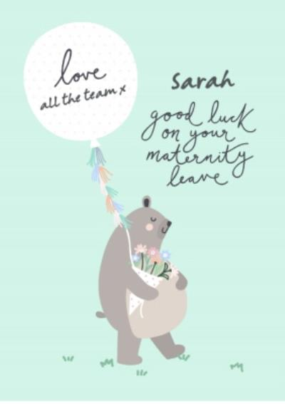 Bear Necessities Maternity Leave Personalised Text Card