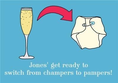 Personalised Name Get Ready To Switch From Champers To Pampers New Baby Card