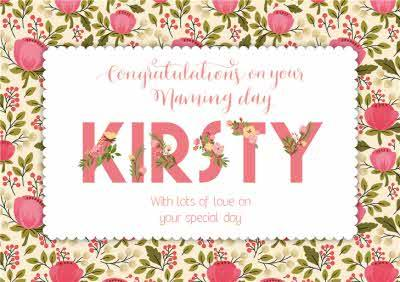 Pink And Green Personalised Congratulations On Your Naming Day Card