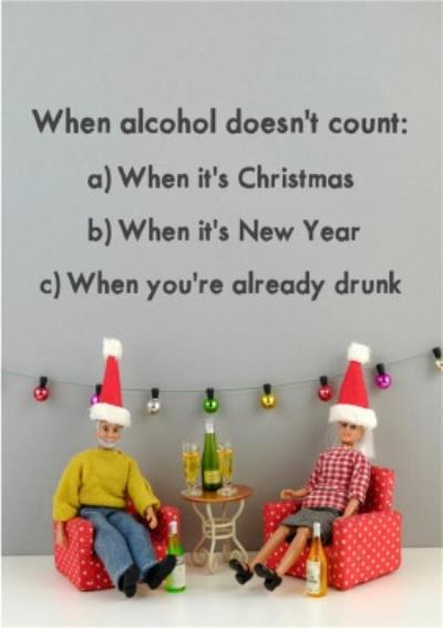 Funny Dolls When Alcohol Doesn't Count Christmas Card