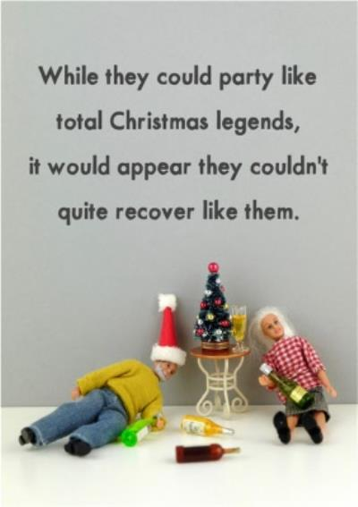 Funny Dolls Party Like Christmas Legends Card