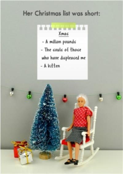 Funny Dolls Short Christmas List Card