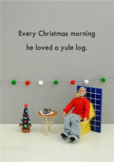 Funny Dolls Yule Log Christmas Card