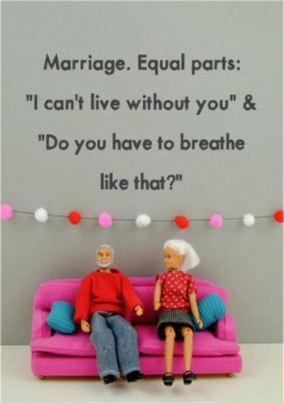 Funny Dolls Marriage Equal Parts Card