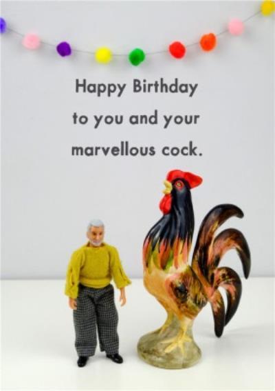 Funny Dolls Rude Cockerel Birthday Card