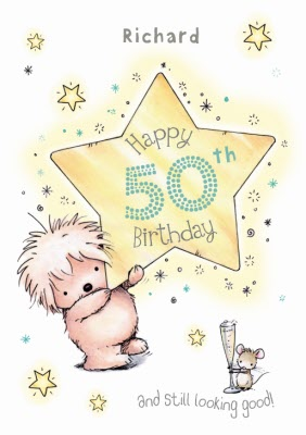 Hedgehog With Star Personalised Happy 50th Birthday Card Moonpig
