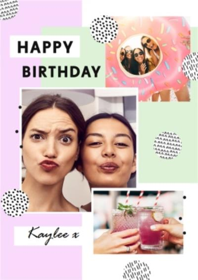 Pattern Multi Photo Upload Birthday Card