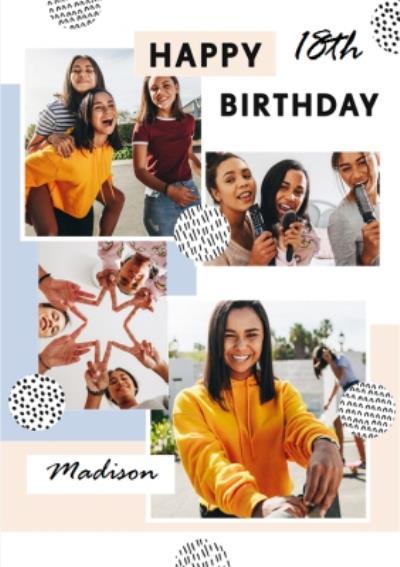 Pattern Multi Photo Upload 18th Birthday Card