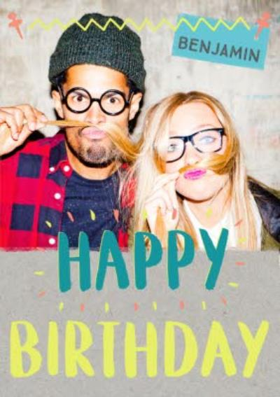 Neon Letters Photo And Personalised Name Birthday Card
