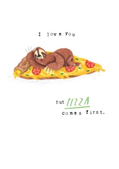 Animal card - sloth - pizza - quick card - just a note
