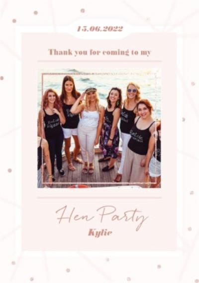 Thank You For Coming To My Hen Party Photo Upload Wedding Thank You Card