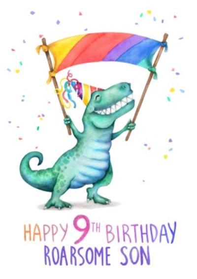 Cute Dinosaur Roarsome 9th Birthday Card