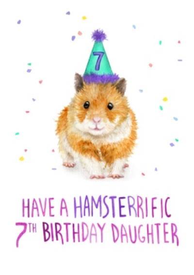 Cute Have A Hamsterrific 7th Birthday Card
