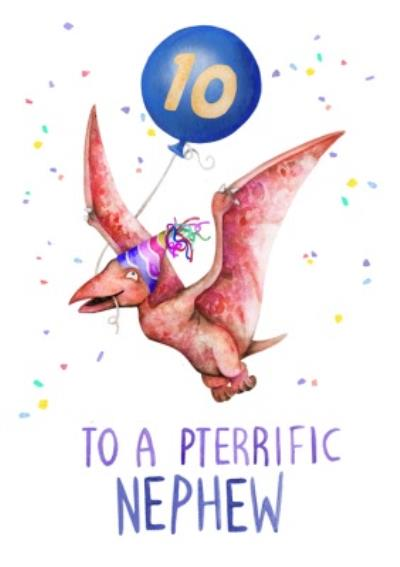 Cute Pterodactyl 10th Birthday Card