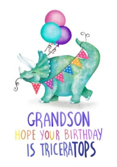 Cute Dinosaur Grandson Hope Your Birthday Is Triceratops Card