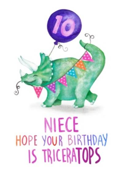 Cute Dinosaur Niece Hope Your Birthday Is Triceratops Card