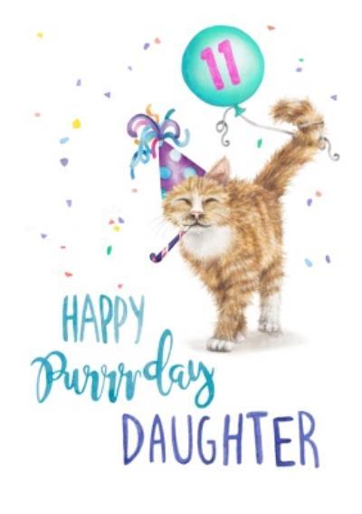Cute Cat Happy Purrday Daughter Birthday Card