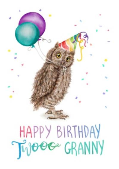 Illustration Owl Happy Birthday Twooo Granny Card