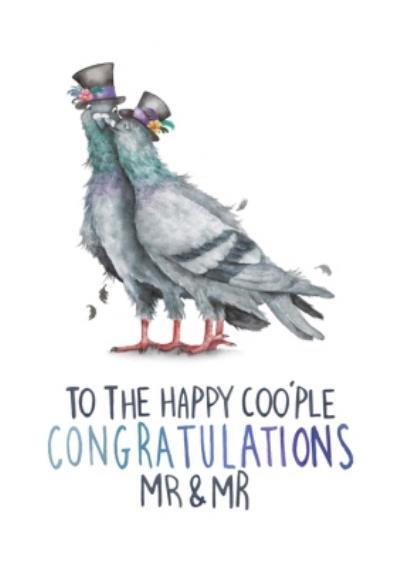 Pigeon Pun Mr And Mr Congratulations Wedding Card